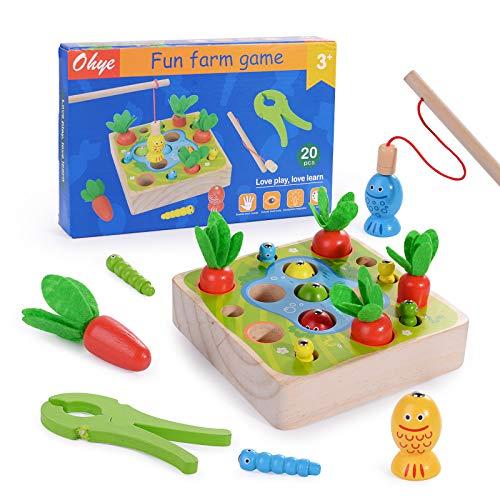 Herefun 3 in 1 Angelspiel Holzspielzeug, Montessori Motorik Spielzeug, Holz Karotte Kinderspielzeug mit...