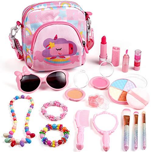 ARANEE Kinderschminke Set Mädchen, 17 Stück Waschbar Schminke Kinder mit Kosmetiktasche für Kinder ab 3 4 5...