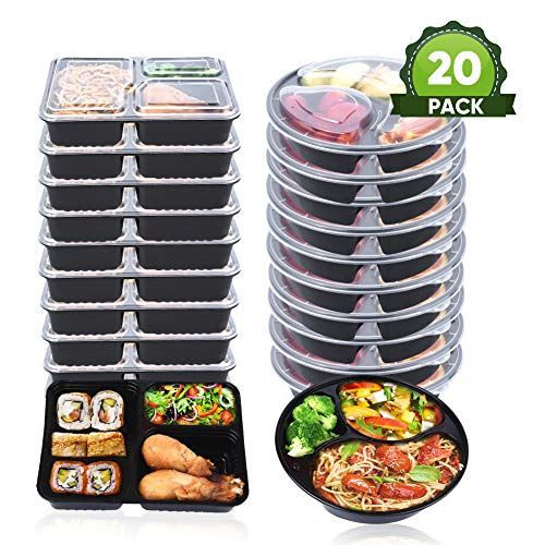 3 Fach Mahlzeit Vorbereitung Behälter mit Deckel, stapelbar, Spülmaschinenfest und mikrowellengeeignet,...