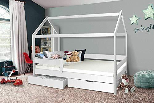 Hausbett 90x200 Kinderbett mit Rolllattenrost Hochbett Spielbett Massivbett (Ohne Vorhang, MIT Schublade)