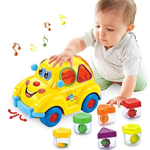 HOLA Baby Spielzeug 6-18 Monate, Früherziehung Musikbus, Verschiedene Früchte/Musik/Licht/ Rätsel,Geschenk...