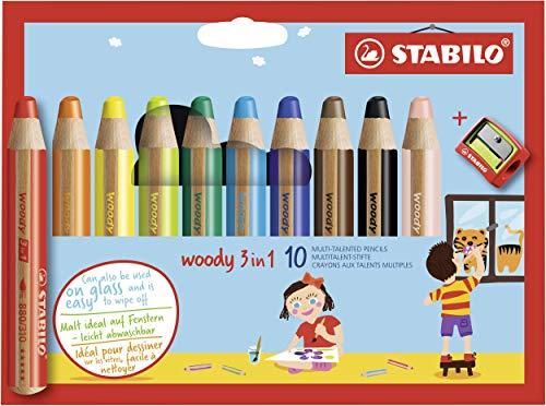 Buntstift, Wasserfarbe & Wachsmalkreide - STABILO woody 3 in 1 - 10er Pack mit Spitzer - mit 10 verschiedenen...