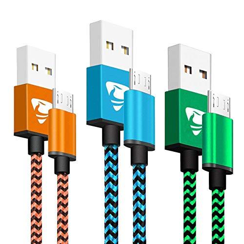 Micro USB Kabel 3Pack 2m Kabel Android Aione Micro Schnellladekabel Nylon Handy Ladekabel Kompatibel mit...