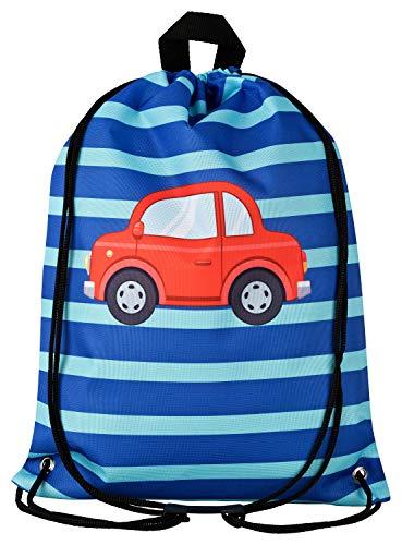 Aminata Kids Turnbeutel Kinder Jungen Auto-Motiv 34x43-cm blau Sport-Wäsche-Beutel für Kita