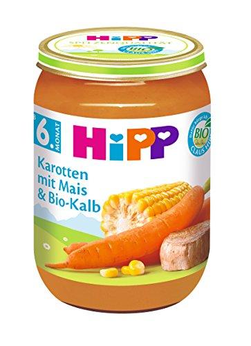 HiPP Karotten mit Mais und Bio-Kalb, 6er Pack (6 x 190 g)