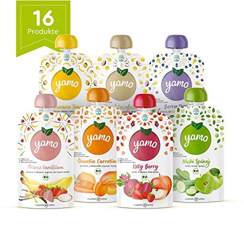 yamo frische Bio-Früchte Quetschies, Quetschie-Set, 100 % natürliche Bio-Zutaten, ab 6 Monate, (16 x 120g)