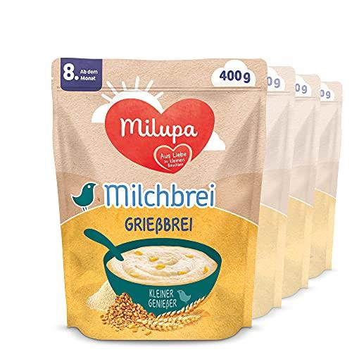 Milupa Milchbrei Grießbrei, miluvit Babybrei, Babynahrung ab dem 8. Monat (4 x 400 g)