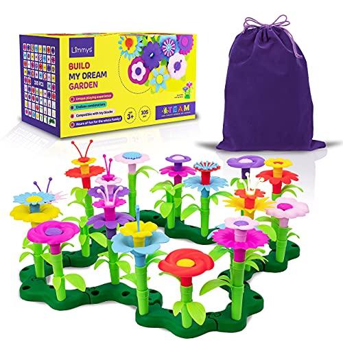Limmys 105-Teile-Set 'Build My Dream Garden' – Kinder Outdoor Spielzeug ab 3 Jahre - Bausteine-Kompatibel...