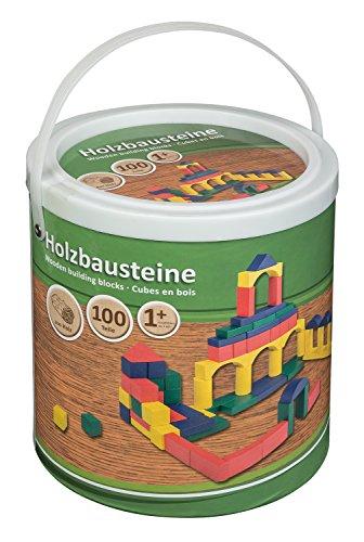 Idena 40030 - Holzbausteine in verschiedenen Farben und Formen, ab 12 Monaten, 100 Stück im Eimer