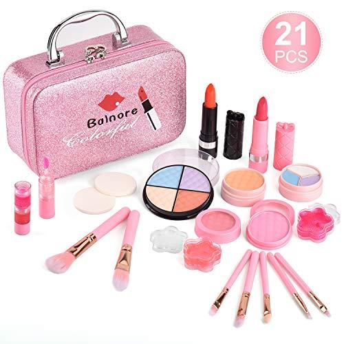 balnore Kinderschminke Set Mädchen 21 Stück Waschbar Schminke Kinder Schminkkoffer Kosmetikset Mädchen...