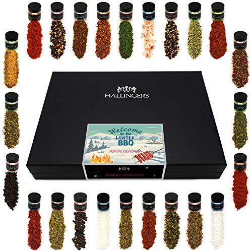 Hallingers 24er Gewürz-Geschenk-Set mit Gewürzen aus aller Welt (425g) - Welcome to the Winter BBQ...