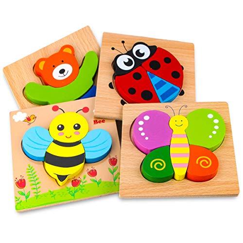 Afufu Holzpuzzle, Holzspielzeug ab 1 2 3 Jahren, 4 Stück Steckpuzzle Holz Montessori Spielzeug für Baby,...