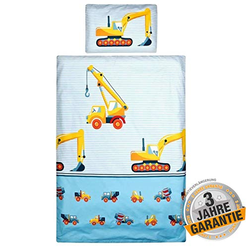 Aminata Kids - süßes Bettwäsche-Set Bagger-Motiv 100-x-135-cm, hell-blau, gelb - Jungen, Baustelle -...