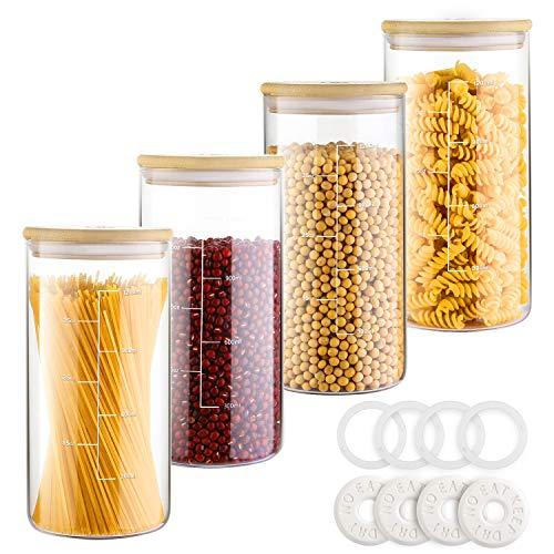 Hiroumer Vorratsdosen Glas mit Deckel 4 * 1300ml, mit Teilstrichen Vorratsglas Set, Freier Trockener Block, 4...