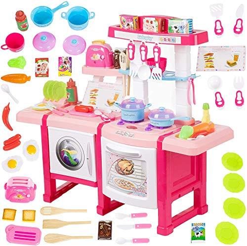 Kinderplay Kinderküche Spielküche mit Toaster - Kinder Küche mit Zubehör, Küchenspielzeug mit Sound- und...