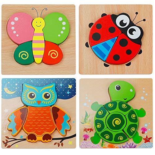 EXTSUD 3D Kinder Holzpuzzle Steckpuzzle Holz Montessori Spielzeug Lernspielzeug Pädagogisches Geschenk für...