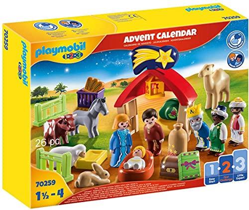 PLAYMOBIL Adventskalender 70259 Weihnachtskrippe mit liebevollen Figuren, Tieren und Zubehörteilen hinter...