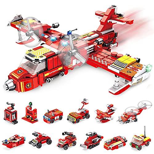 VATOS Feuerwehrflugzeug Bausteine Spielzeug ab 6 7 8 9 10 Jahren für Jungen, 572 Teile Konstruktionsspielzeug...