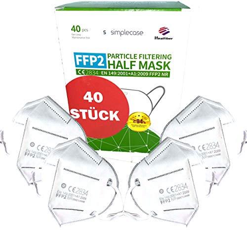 Simplecase 40 Stück FFP2 Maske, CE Zertifiziert von offiziell benannter Stelle CE2834, Atemschutzmaske,...