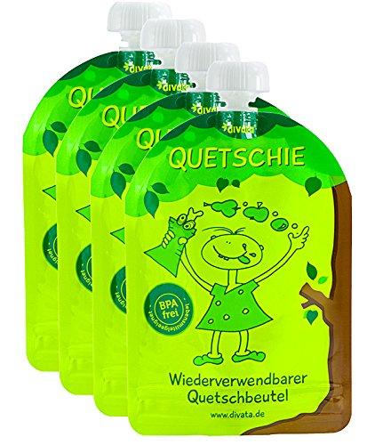 divata Quetschies, 170ml (4er Set) - wiederverwendbare Quetschbeutel zum selbst befüllen mit u.a....