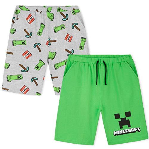 Minecraft Kurze Hose Jungen, 2er-Pack Kurze Kinderhosen, Baumwolle Kinder Shorts für Sport und Freizeit,...