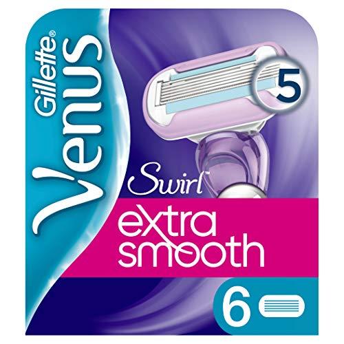 Gillette Venus Extra Smooth Swirl Rasierklingen Damen mit Feuchtigkeitsstreifen für Hautschutz, 6...
