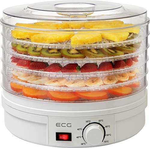 ECG SO 375 250 W zum Trocknen von Obst, Gemüse, Kräutern, Fleisch und sonstigen Lebensmitteln, samt fünf...