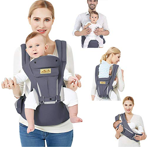 Viedouce Babytrage Ergonomische mit Hüftsitz/Reine Baumwolle Leicht und atmungsaktiv/Multiposition:Dorsal,...