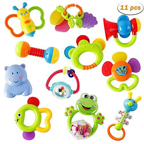 WISHTIME Rassel Beißring Set Baby Spielzeug - Shaker Greifen Rassel Baby Kleinkind Neugeborenen Spielzeug...