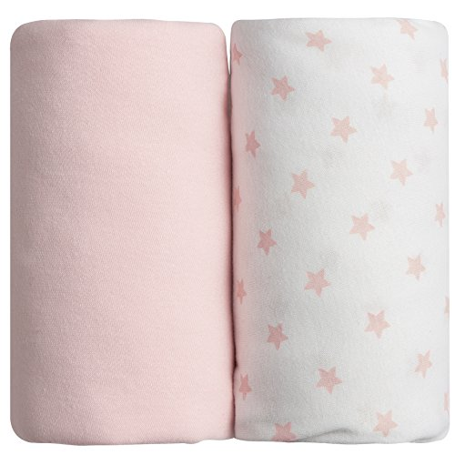 BabyCalin BBC414806 Spannbettuch, 70cm x 140cm, Rosa und Star Print, 2er Set, rosa, 2 Stück