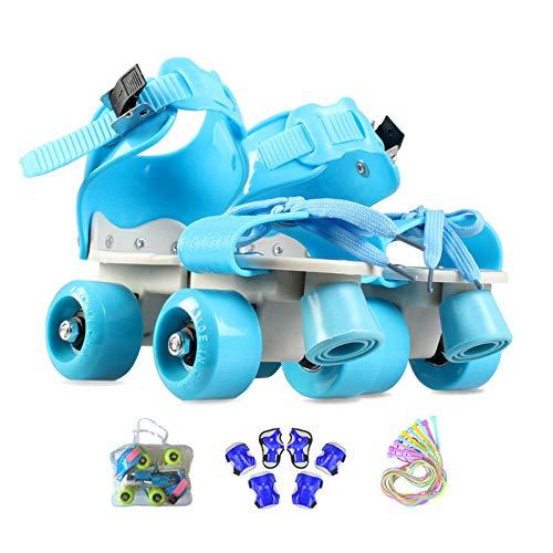 ZCRFY Rollschuhe Kinder verstellbar Für Mädchen Jungen Anfänger Outdoor Mit Schutzausrüstung Rollers...
