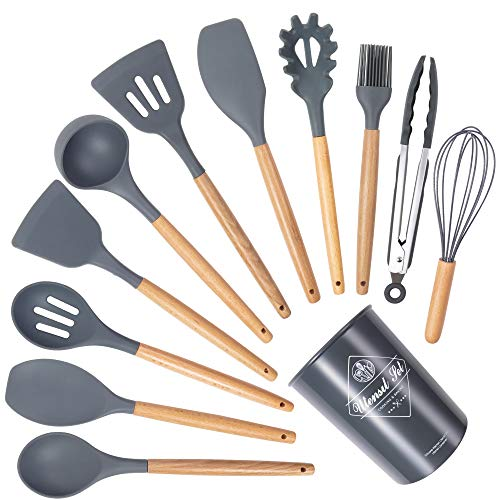 Silikon Küchenhelfer Set 12 Stück Küchenutensilien Set, Antihaft Kochgeschirr Set, Hitzebeständig...