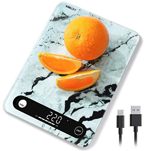 vinlley Digital Küchenwaage, Gewicht bis zu 10 KG, 22Ib Lebensmittel Küchenwaage Gewicht Gramm und Unzen,...