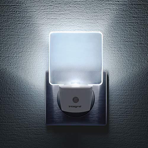 Integral LED-Nachtlicht, 2 Stück, mit automatischem Sensor, Tag/Nacht, Steckdose, Weiß matt