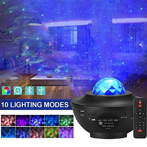 LED Sternenhimmel Projektor, Amouhom Ozeanwellen Projektor mit Fernbedienung/Bluetooth 5.0/360°Drehen /3...