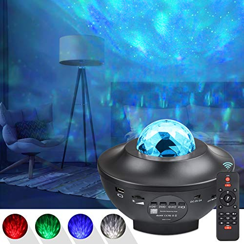 UOUNE sternenhimmel Projektor, Led sternenprojektor Lampe Starry/Wasserwellen/Bluetooth Lautsprecher Perfekt...