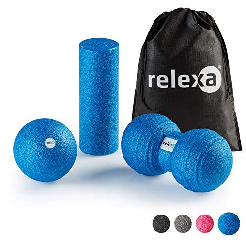 relexa Faszien Set Mini, 3-teiliges Ganzkörper Trainingskit, mit Faszienrolle, Twinball & Faszienball,...