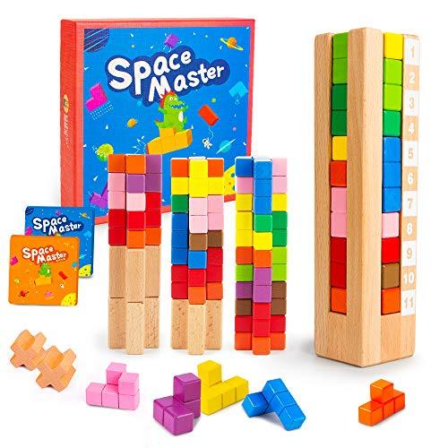 VATOS Kinder Spiel, IQ Spiele Brain Teaser Tetris Knobelspiel Holzpuzzle für Kinder – Space Master...