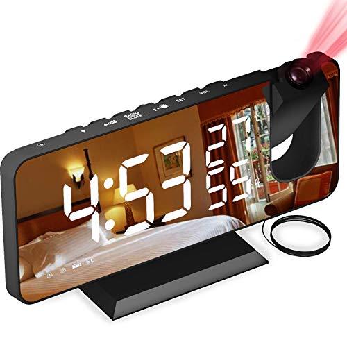 Aikove Digitaler Wecker, Projektionswecker mit FM-Radio, 7' LED Spiegelbildschirm, 4 Helligkeiten, Dual Alarm...