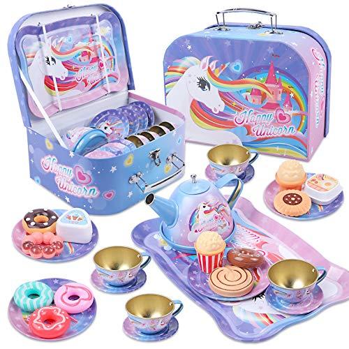 Tacobear Tee Set Kinder Teeservice mit Dessert Spielzeug Tragekoffer Tin Teekanne Set Einhorn Tee Party...