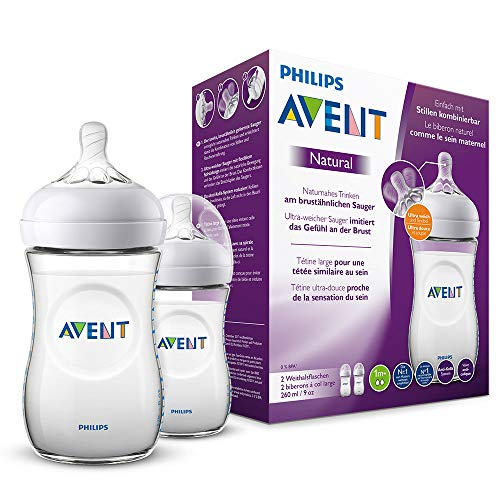 Philips Avent Natural Flasche SCF033/27, 260 ml, naturnahes Trinkverhalten, Anti-Kolik-System, transparent,...