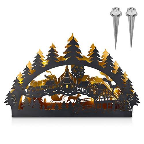 Navaris LED Outdoor Metall Schwibbogen - 75x45cm - 3D Lichterbogen mit 2x Erdspieß - Weihnachtsbogen...