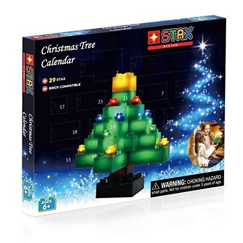 STAX S19031 Weihnachtsbaum Bauset Adventskalender, Bausteine mit Licht