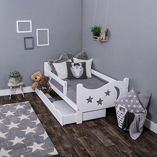 KAGU Chrisi Kinderbett Jugendbett Juniorbett Bett (140x70 cm oder 160x80 cm). Kiefernholz Massivholz inkl....