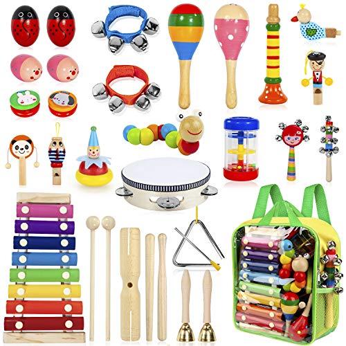 AILUKI 27 Stück Musikinstrumente Musical Instruments Set, Holz Percussion Set Schlagzeug Schlagwerk Rhythm...