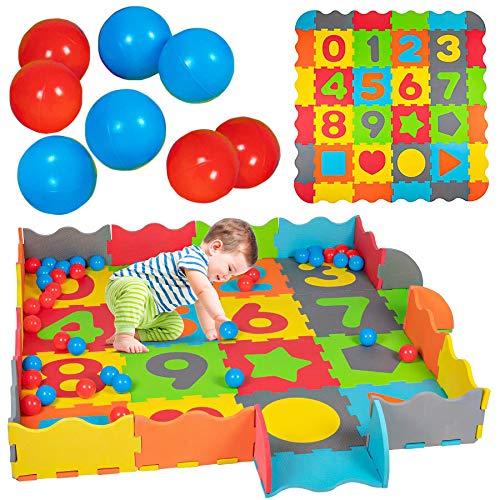 93-teilig Baby Puzzlematte mit Rand Bällen Spielmatte Spielteppich Krabbelmatte Puzzleteppich Bällebad...