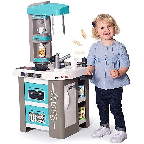 Smoby Tefal Studio Bubble Küche Spielküche für Kinder mit vielen Funktionen, Töpfen, Pfannen,...