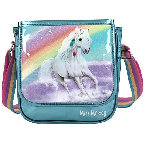 Depesche 11057 Miss Melody - Kleine Umhängetasche mit traumhaftem Pferde-Motiv, türkise Handtasche mit...