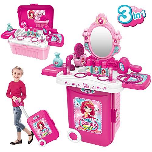 Dreamon Schminkset Rollenspiel Spielzeug 3 in 1 Tragbarer Schminktisch mit Kosmetik Zubehör in Koffer Regalo...