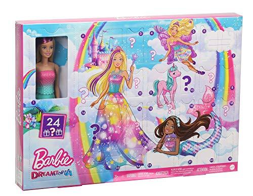 Barbie GJB72 - Dreamtopia Adventskalender mit Puppe und Zubehör, Puppen Spielzeug und Adventskalender...
